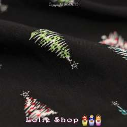 Tissus Viscose Imprimé Motif Sapin De Noël Fond Noir
